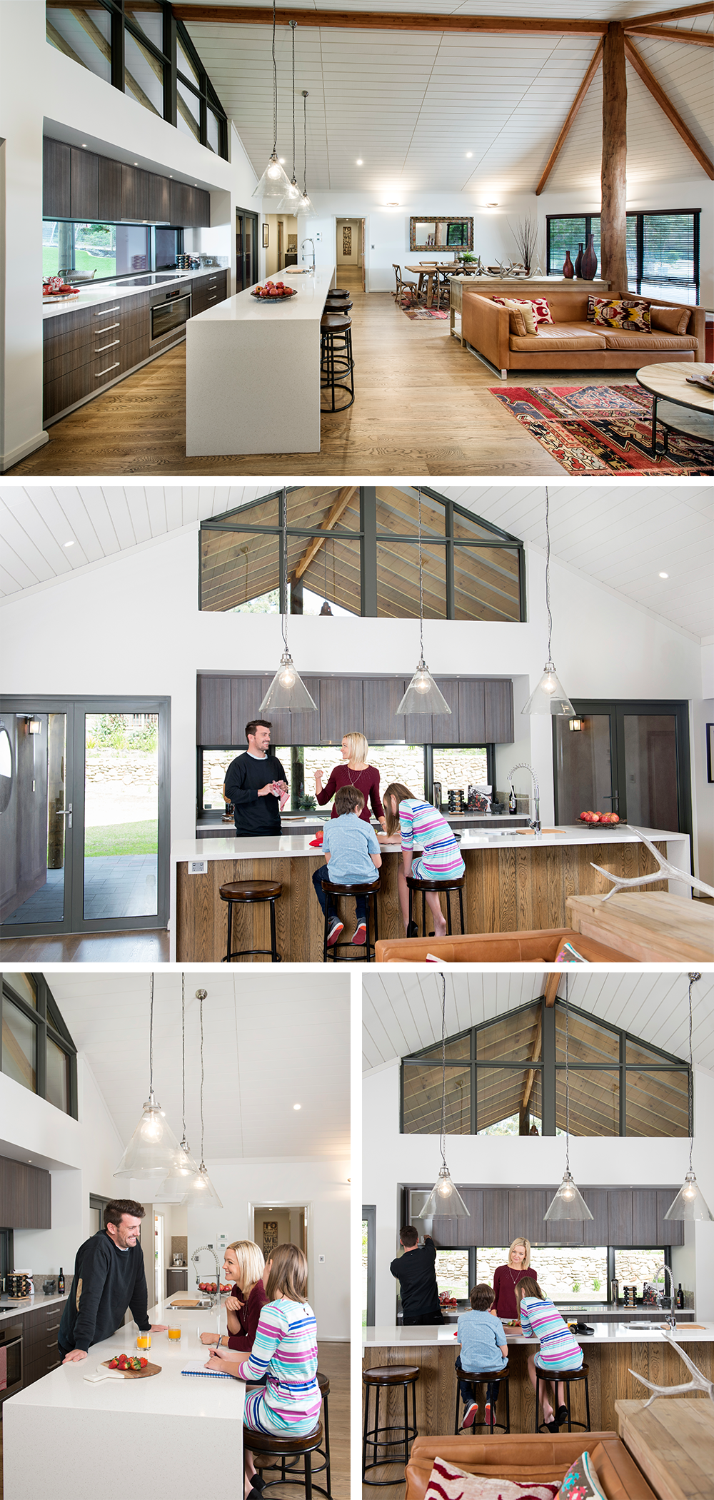 Images of open plan kitchen with family sitting down for breakfast.