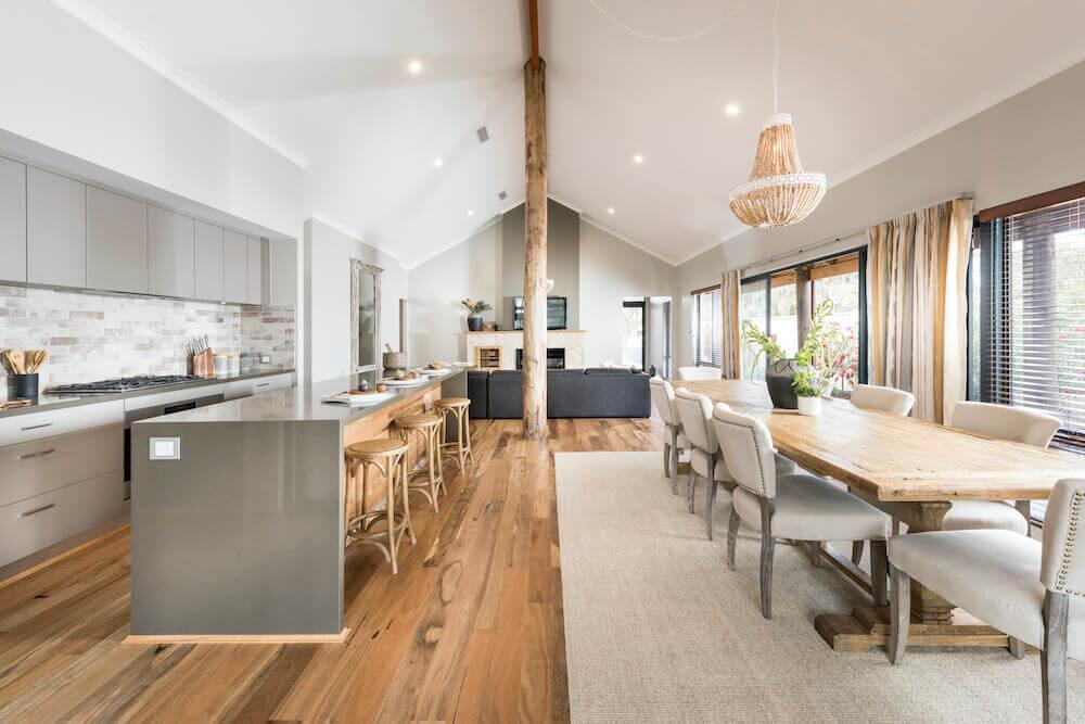 Rural Building Co - Kalgup Retreat - open-plan dining room and kitchen