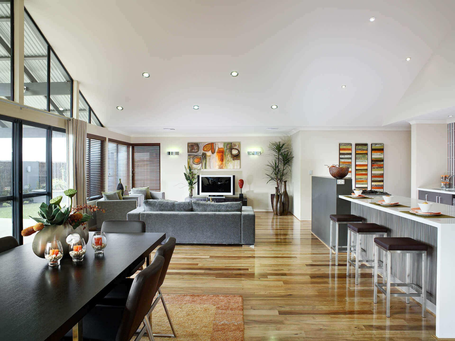 Rural Building Co - The Coastal View - open-plan dining room and lounge