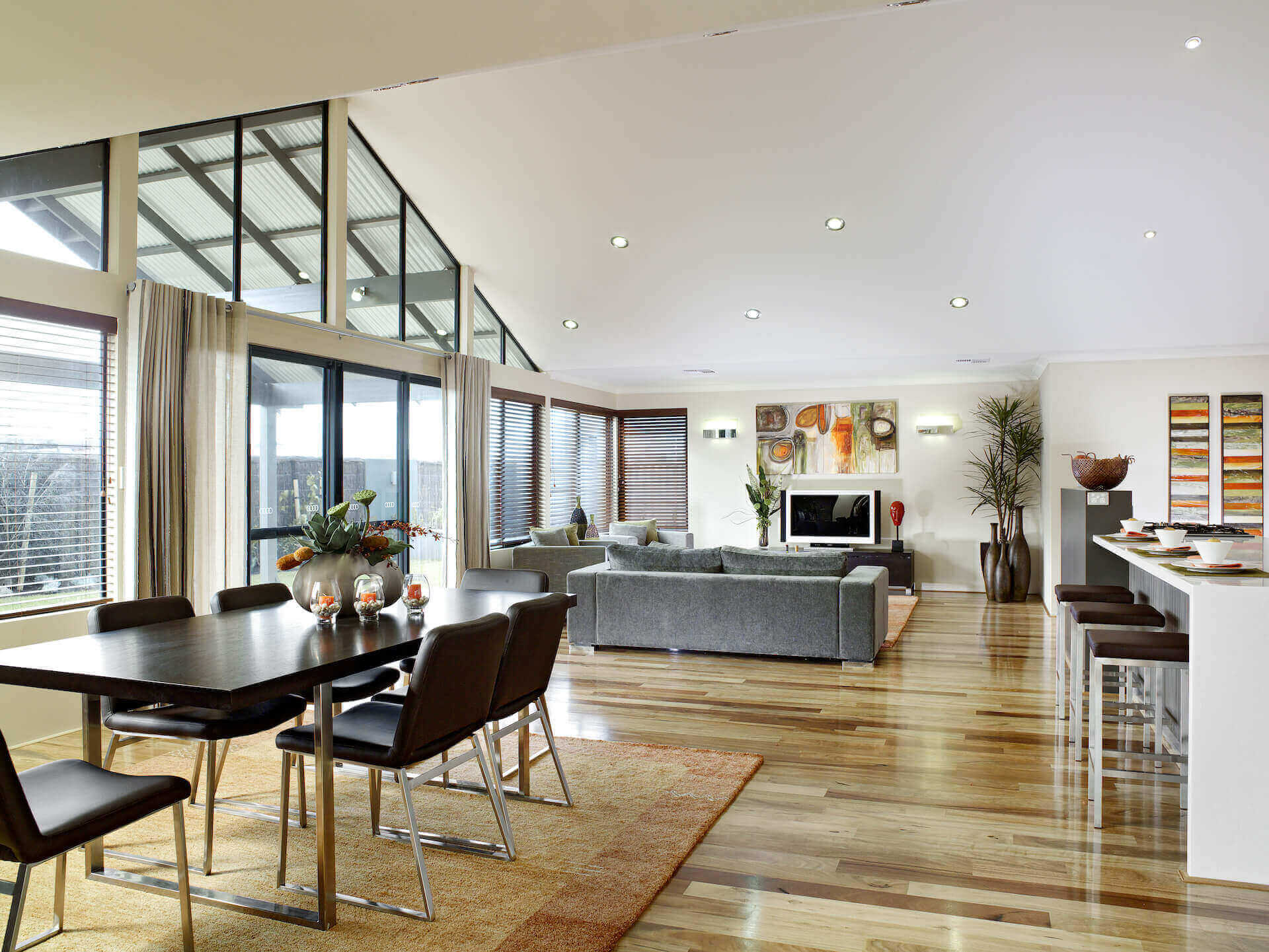Rural Building Co - The Coastal View - expansive dining room and lounge