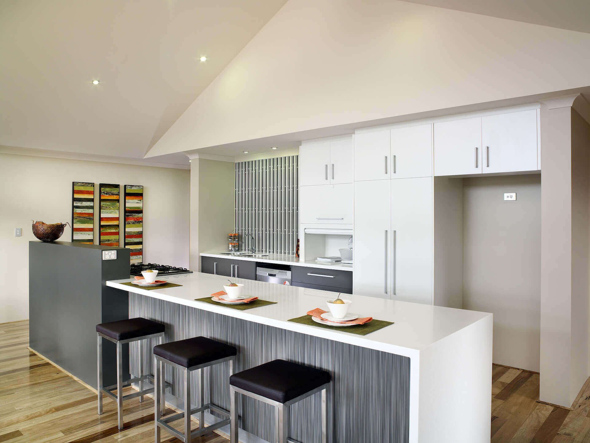 Rural Building Co - The Coastal View - open-plan kitchen with Corian bench top