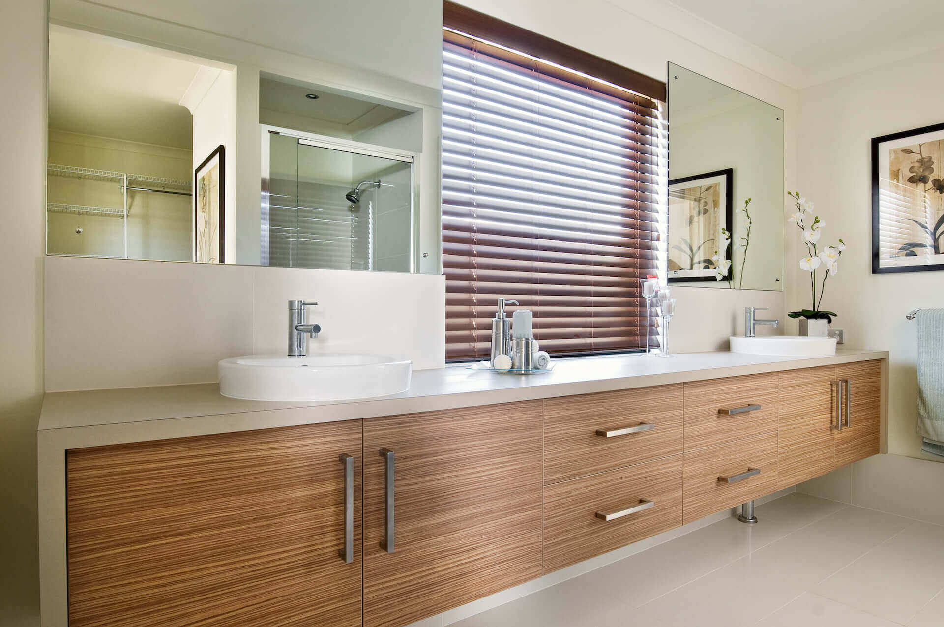 Rural Building Co - The Coastal View home - bathroom with double basins