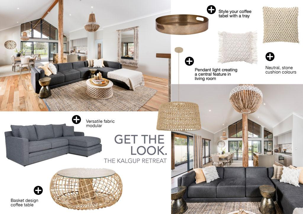 Brochure of couch, pillow and lighting furniture ideas to help design a home - Rural Building Co.